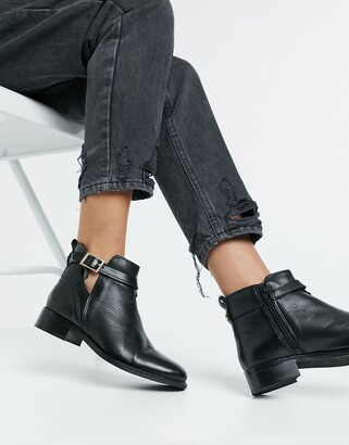 Carvela tide leather cutout buckle boots in black