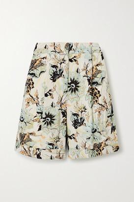 Diane von Furstenberg Nathalie Floral-print Crepe Shorts - Light blue