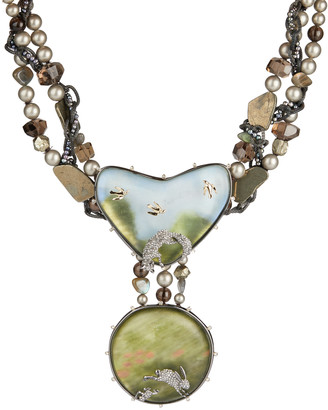 Alexis Bittar Woodland Landscape Beaded Bib Necklace