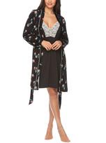 Tahari Women's Sleep Robes BLBT - Black Floral Contrast-Trim Robe & Lace-Accent Chemise - Women