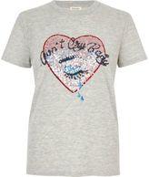 River Island Womens Grey sequin heart T-shirt