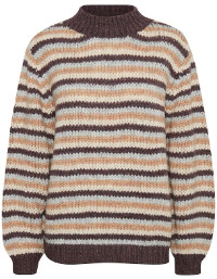 Saint Tropez Knitted Striped Pullover in Melange - S