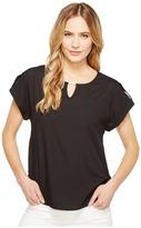 Calvin Klein Short Sleeve Top with Bar Hardware Women's Clothing