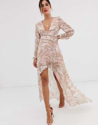 Asos Design DESIGN midi dress with lace trims in soft animal print-Pink
