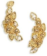 Oscar de la Renta Millegrain Crystal Petal Clip-On Ear Crawlers