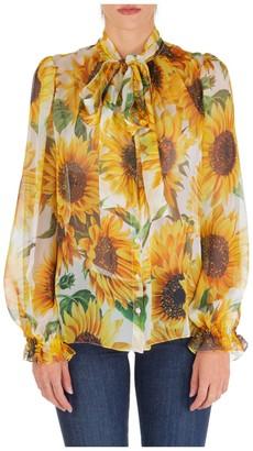 Dolce & Gabbana Sunflower Print Pussy Bow Blouse