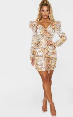 PrettyLittleThing Champagne Jacquard Floral Ruffle Detail Long Sleeve Bodycon Dress