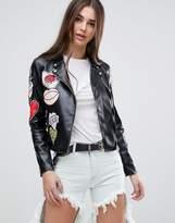 Glamorous Badge Faux Leather Biker Jacket