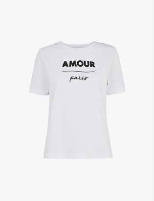 Whistles Slogan-print cotton-jersey T-shirt