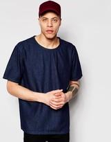 Weekday Zephyr Denim T-Shirt Boxy Fit Wide Neck in Dark Blue