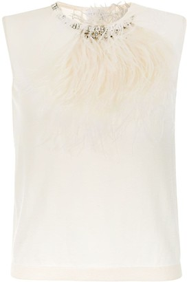 Giambattista Valli Feather-Embellished Knitted Top