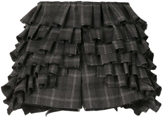 Vera Wang Check-Print Ruffled Shorts