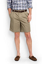 "Lands' End Men's No Iron 9"" Pleat Front Comfort Waist Chino Shorts-Steeple Gray"