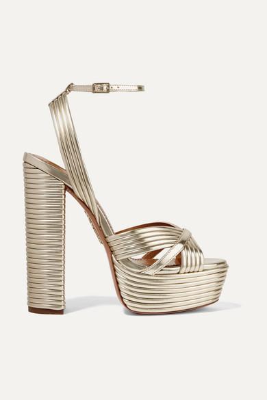 Aquazzura Sundance 150 Metallic Faux Leather Platform Sandals - Gold