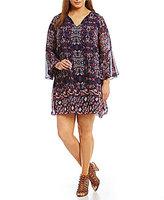 Vince Camuto Plus Printed Chiffon Bell Sleeve Dress