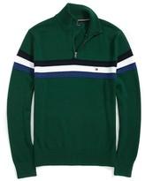 Tommy Hilfiger Stripe Half Zip Mock Sweater