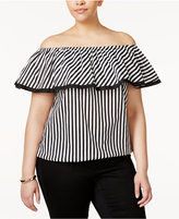 INC International Concepts Plus Size Cotton Striped Off-The-Shoulder Top, Only at Macy's