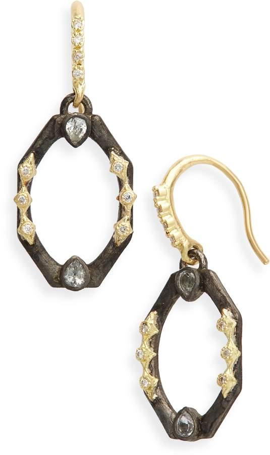 Armenta Old World Octagonal Diamond & Sapphire Drop Earrings