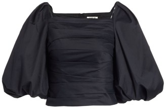 AMUR Priya Puff-Sleeve Cropped Top