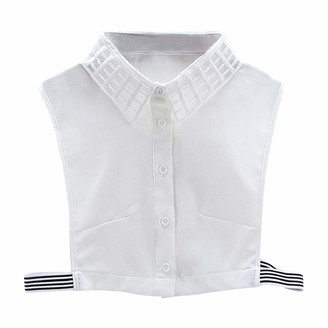 DEELIN Womens Tops Plaid New Blouse False Collar Clothes Office Ladies Work Black White Shirt Detachable Fake Half Shirt Collars Lapel Choker Blouse(White One Size)