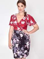Paper Dolls Curve Blossom Printed Two Tone Dress
