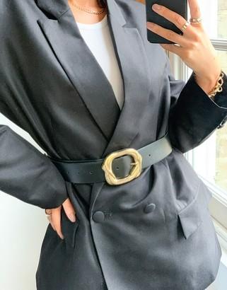 ASOS DESIGN snake buckle waist and hip jeans belt in black