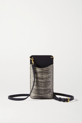 Anya Hindmarch Smooth And Perforated Snake-effect Leather Phone Case - Snake print