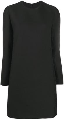 Valentino Lace-Detail Long-Sleeve Shift Dress