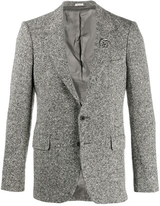 Alexander McQueen Brooch-Embellished Single-Breasted Blazer