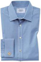 Charles Tyrwhitt Classic Fit Small Gingham Navy Blue Cotton Dress Shirt French Cuff Size 15/35