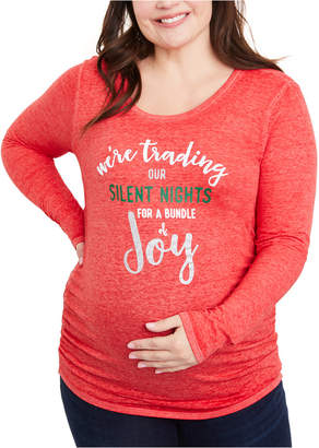 Motherhood Maternity Plus Size We're Trading Our Silent Nights For A Bundle Of Joy Maternity Graphic Tee