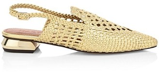 Souliers Martinez Gloria Woven Leather Slingback Loafers