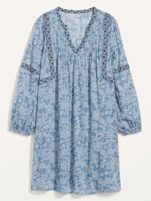 Old Navy Floral-Print Split-Neck Plus-Size Swing Dress
