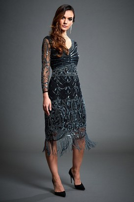 Jywal London Black Midi Embellished Long Sleeve Flapper Dress