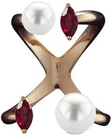 Bijules Women's Rose Gold Plated Sterling Silver Marquise Red Ruby and Double Round White Pearls Future Knuckle Ring - Size Small