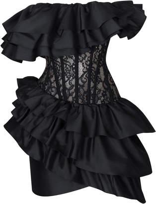 Rasario Ruffled Silk And Lace Corset Mini Dress