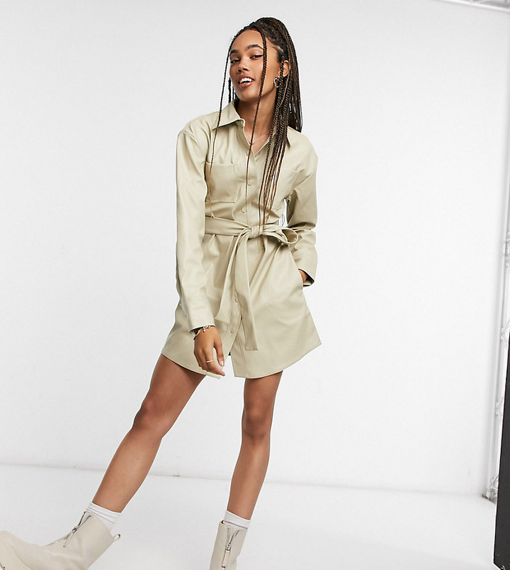 Collusion leather-look belted shirt dress in cream