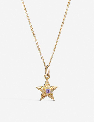 Rachel Jackson Lucky Birthstar October 22ct gold-plated sterling silver and amethyst necklace