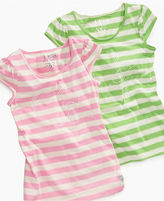 GUESS Kids Shirt, Little Girls Pearl-Accented Striped Tee
