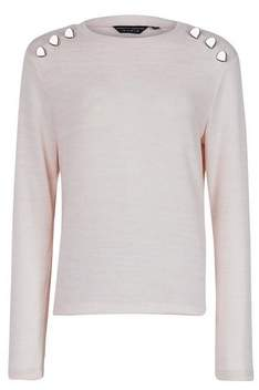 Dorothy Perkins Womens Blush Button Brushed Crew Neck Jumper