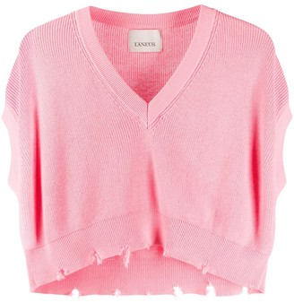 Laneus Distressed-Effect Knitted Top