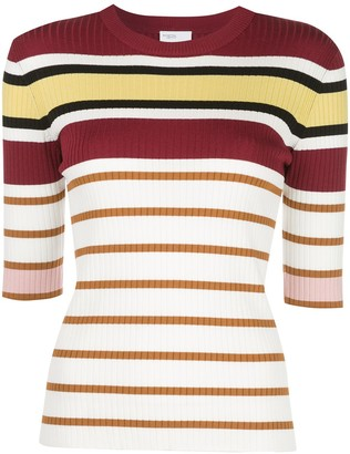 Rosetta Getty Striped Short-Sleeve Jumper