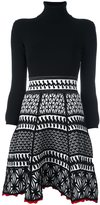 DSQUARED2 ruched knit pattern dress - women - Cotton/Polyester/Viscose - M