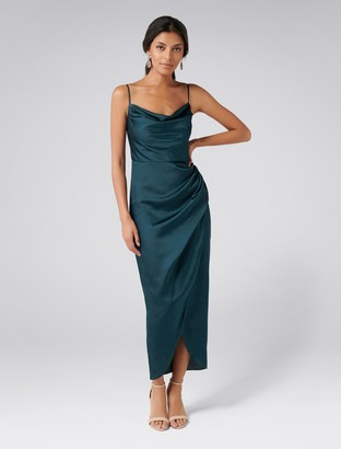 Forever New Holly Petite Cowl Neck Dress - Teal - 14