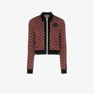 Miu Miu logo jacquard zip-up jacket