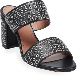 Alaia Two Band Studded Slide Sandals