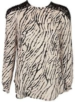 Haute Hippie Womens Beige Black Printed Silk Embellished LS Top