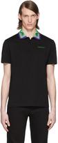 Versace Black Graphic Collar Polo