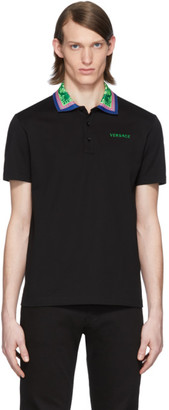 Versace Black Graphic Collar Polo