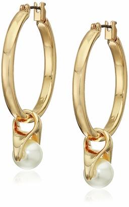 Anne Klein Blanc Pearl Gold Tone Clickit Hoop Drop Earrings 60548651-D60